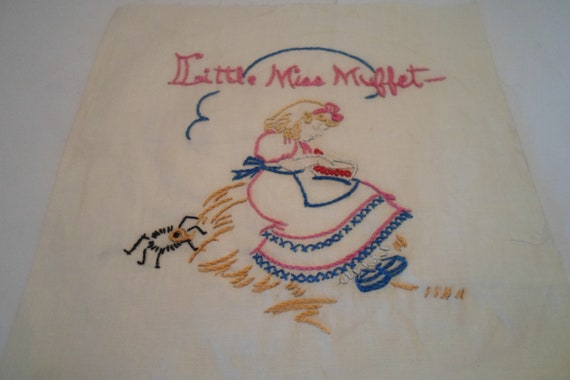 """Antique Vintage 1940's Cotton Embroidered Quilt Square 9"""" x  9"""" Nursery Rhyme Little Miss Muffet Frame or Quilt Cottage Ready"""