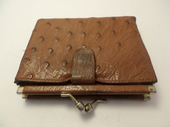 Genuine vintage Ostrich tan leather wallet kisslock embossed name inside