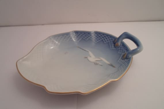Vintage Made in Denmark Copenhagen Bing & Grondahl  Seagull Handled Dish Desk Tray Trinket Mid Century Cottage by the Sea