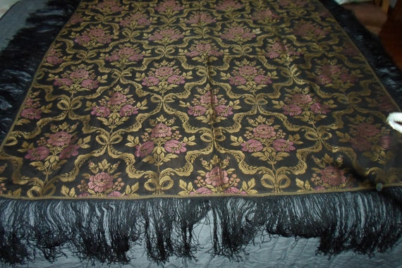 "Antique vintage Black Silk Tapestry Shawl Cover Excellent condition 50"" x 48"" with 9"" Fringe Beautiful colors on Both Sides Chic Stunning"