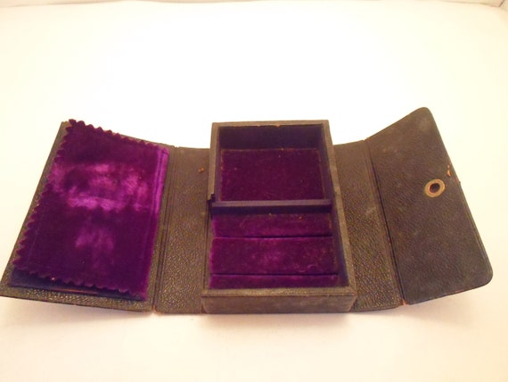 Antique Leather and Velvet Small Pocket Jewelry Case Salesman Travel Display Rare Unusual