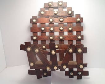 Antique Tramp Art  Victorian Edwardian Walnut wood with Porcelian Buttons Letter Holder Comb Case Use or Repurpose Decorator Chic