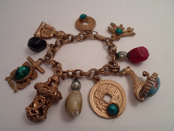 Vintage Art Deco  Bracelet Buddha Ancient coin  Pagoda Wax Seal Many Cool Cultural Charms Symbols Stones of Ancient Era
