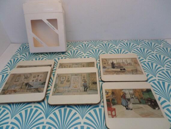 set of 6 vintage artist cork coasters Motivbrickam Made in Sweden beautiful artist