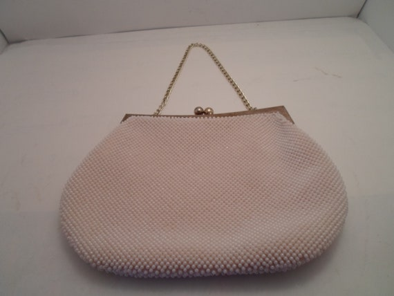 Vintage 1980's Seed Pearl Small Purse Gold Tone Trim and Handle Evening Daytime Appropriate