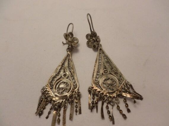 Vintage Gypsy Bohemian dangle earrings alpaca silver tone