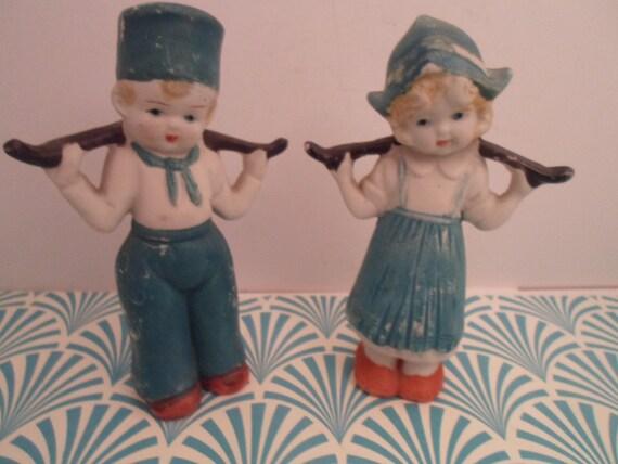Vintage Holland Dutch Boy and Girl Figurine Set Bisque Hand Painted Cupie look Japan