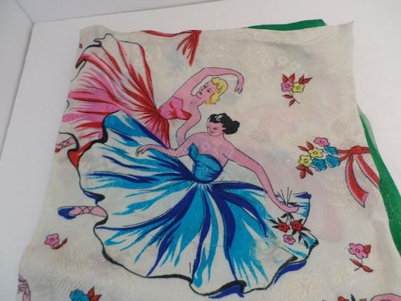 Vintage 1950's scarf ballerina ballet colorful design so chic!