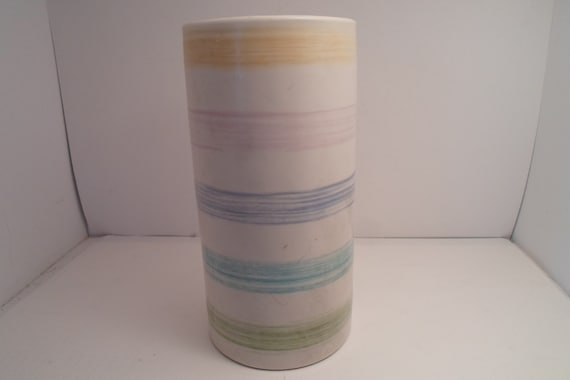 "Mid Century Harris Pottery Chicago Cylinder Vase Long Stem Flowers 9"" tall 5""wide re purpose for Kitchen or Desk top Utensils Superb"