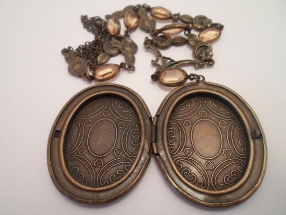 Vintage Large Picture Locket with Topaz Gem Studded Long Chain Art Deco Style 1980's