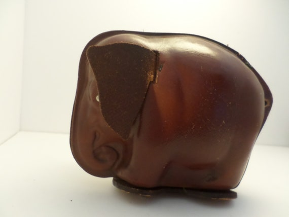 Vintage leather elephant bank unique vintage 50's item