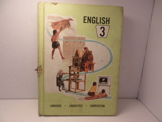 Vintage 1967 3rd Grade English book great illustrations Illinois