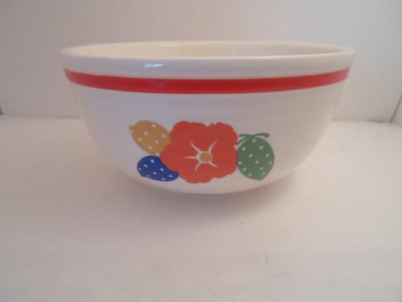 "Antique Art Deco Era 8"" Ovenware Pottery Bowl Adorable Poka Dot Flower and Fruit hand painted Cottage Farm City Kitchen Ready"