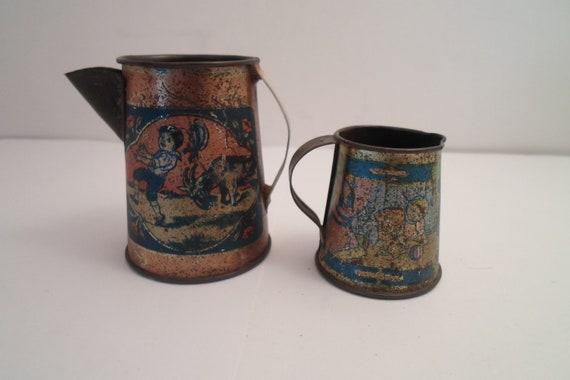 Antique Victorian Ohio Art Tin Litho Children's Coffee Pitcher Pot and Milk Pitcher Nursery Rhyme Series Adorable Farm House stocking