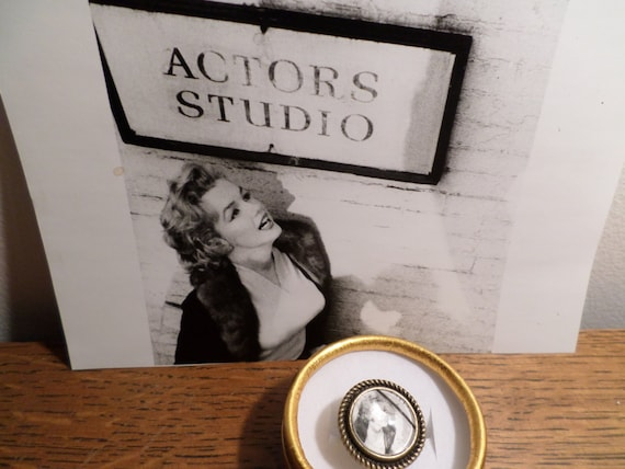 Early Marilyn Monroe black and white actors studio handmade adjustable brass cool monocle ring