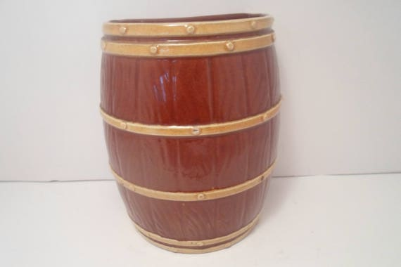 Antique Dartmouth Pottery Devon Hand Made In England Barrel Wall Pocket Rare