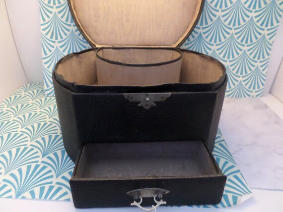 Antique haberdashery 1900's Collar case with drawer for cufflinks etc leather Victorian