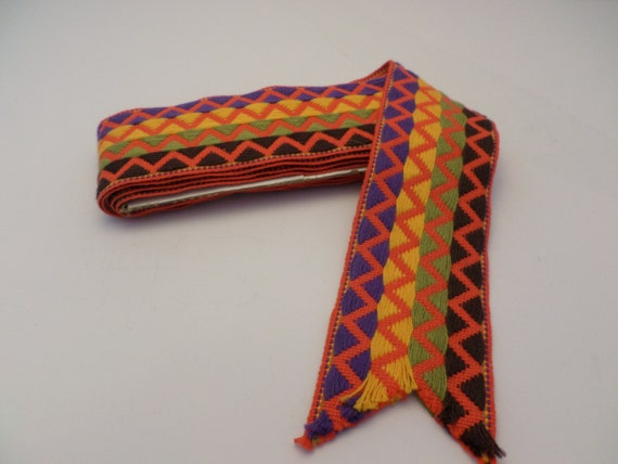 "Vintage 2"" material strap fabric 66"" inch long 1970's vibrant colors geometric zig zag print purple lime poppy brown"