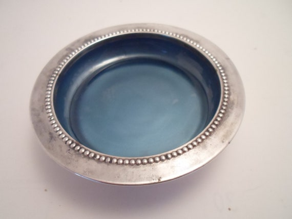 Vintage Antique Silver Plate Cobalt Blue Glass Trinket  Dish or Wine Coaster marked W S Blackinion Silver plate 1865
