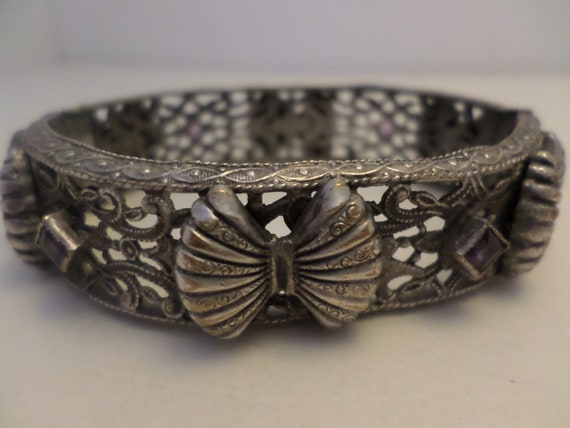 Fabulous Art Deco vintage rhodium and Amethyst bracelet