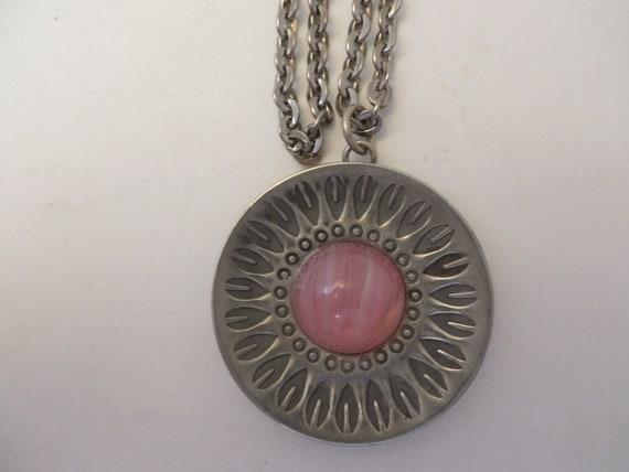 Vintage Jorgen Jensen Pewter necklace & earring set with pink stone