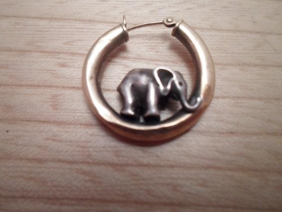 Vintage 14k Gold Single Hoop with Silver Elephant Pierced Earring Adorable Unusual 1980's Unisex