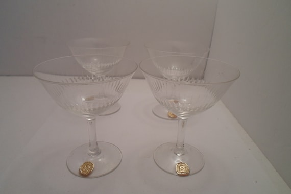 "Antique 4 WMF Rare German Crystal Glass Cordial Stemware Glasses Original German Label Label Holiday Ready 3.50""tall 3""w Stunning"