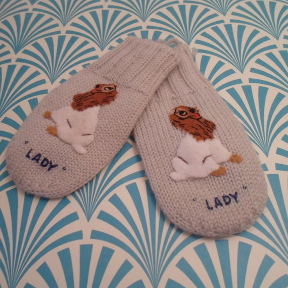 Vintage Lady child mittens Lady and The Tramp Japan Adorable Dog Puppy