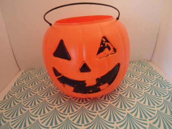 Vintage Halloween Pumpkin Candy Bucket Blow Mold General Foam USA  Trick or Treat Jack o Lantern