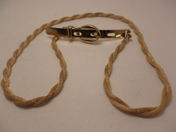 Fabulous vintage gold tone rope buckle disco belt 70's
