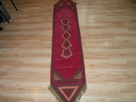 Antique Table Runner Piano Scarf Velvet Stitched with Gold Metallic Thread Design and Gold Wired Fringe Bo Ho Chic Fabulous colors