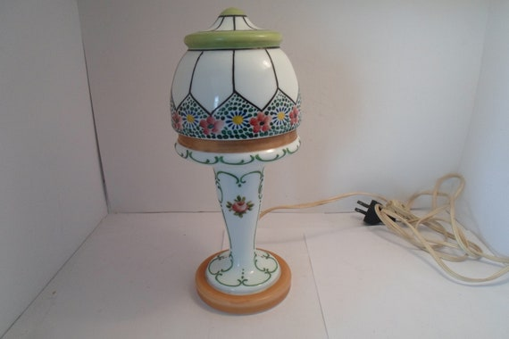 "Antique Hand Painted Czech Lamp Art Deco Lines Beaded Floral Stunning Vanity Boudoir Chic Cottage Ready 10"" All glass"