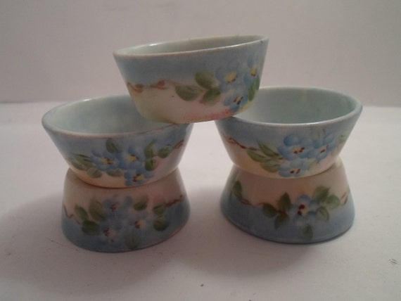 Antique Salt Dips or Cellars Hand Painted Austria Tiny Blue Floral Pattern Appears to Flow Into the Inside Farm Table Ready 5 total