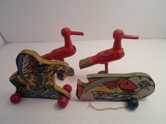 Antique 1930's Art Deco Wood Red Hand Painted Bird Call Horns 2 Pull Toys Indian on Horse and Fish As Found Adorable Use Re purpose