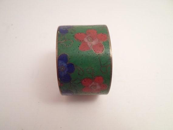 Antique Vintage Faux Cloisonne Napkin Ring Hand Painted Enamel Cottage Farm to Table Chic City Cool