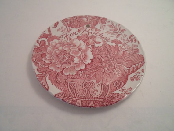"""Vintage Staffordshire England For Mother Wall Plate 6"""" Great Colors Cottage She Shed Ready Flowers Leaves Basket Mother's Day perfect"""
