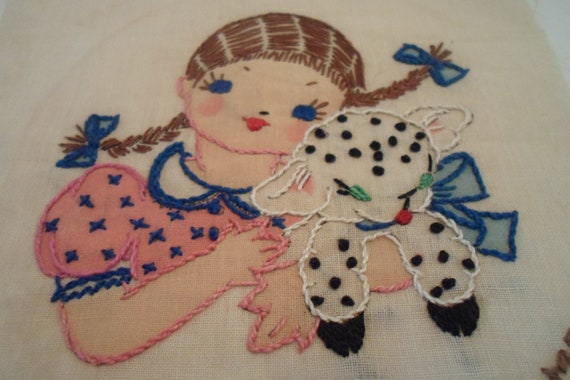 Vintage Antique Embroidered Quilt Square Original Detailed Mary Lamb Quilt or Frame Cottage chic Nursery Quilt or Decor