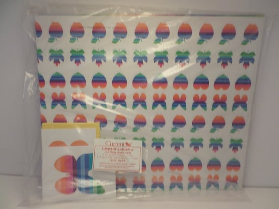 NEw unopened 1983 Vintage rainbow wrapping apple butterfly heart current WOW!