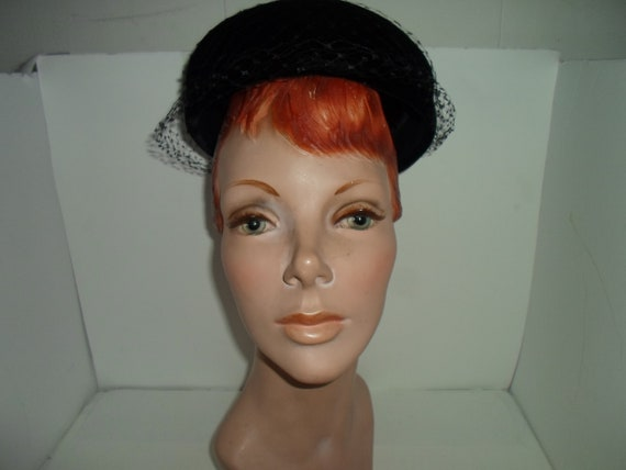 Vintage 60's Jackie Kennedy Pill Box Hat with Veil Over Black Velvet Fine Millinery Covered Button