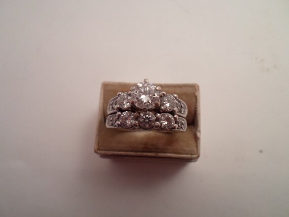 Vintage Art Deco !4K White Gold Diamond Engagement Set Approximately conservatively 1 ct. total. Center is 1/2 ct. Bright White Diamonds