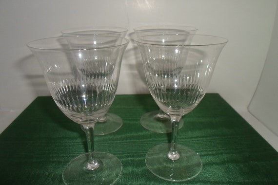 Antique 4  WFM Rare German Crystal Wine Glasses Original Sticker Never Used Holiday Toasting Wine Ready Stunning pattern