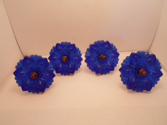 4 Antique Vintage Sandwich Glass Rosette Curtain Drape Tie Backs Fantastic Cobalt Blue Rare Color