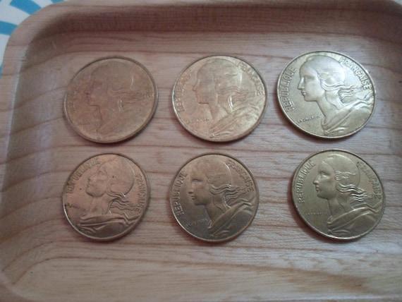 Vintage France Coins 6 Republique Francaise 20 and 10 Centimes Beautiful Art Deco Lady