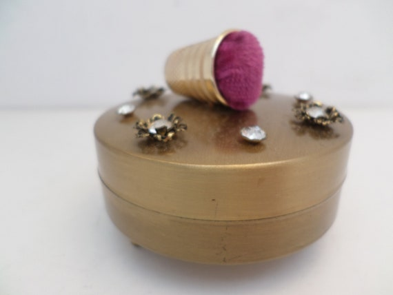 Vintage 60's pin cushion sewing box hot pink thimble gold metal box rhinestones cute!