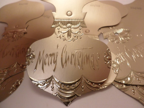 Vintage 60s Henri Fayette Chicago Christmas gift tags department store stock gold ornament