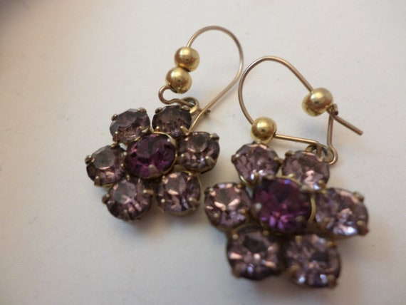 "1"" crystal lilac purple dangle earrings vintage 60's"
