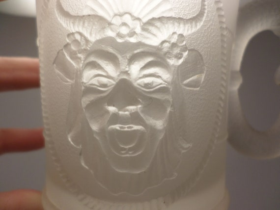 early 1880's antique satin pattern glass mug satyre man with horns dragon face wow!