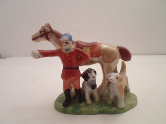 Antique Art Deco Equestrian Fox and Hound Hunt Figurine Horse Rider Dogs Adorable Unusual