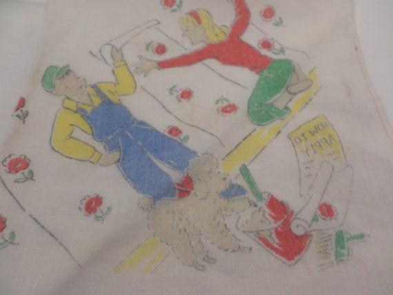Vintage 50's hankerchief handyman helping blonde with poodle wallpaper
