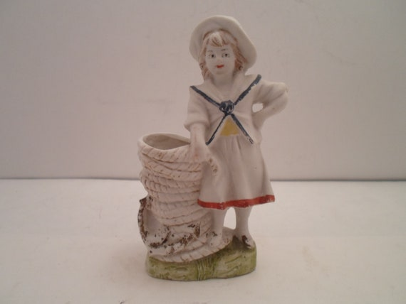 Antique Victorian Bisque Sailor Girl Posy Holder Match Holder Stacked Rope Bound Anchor Vase hand painted Beyond Adorable Navy Nautical